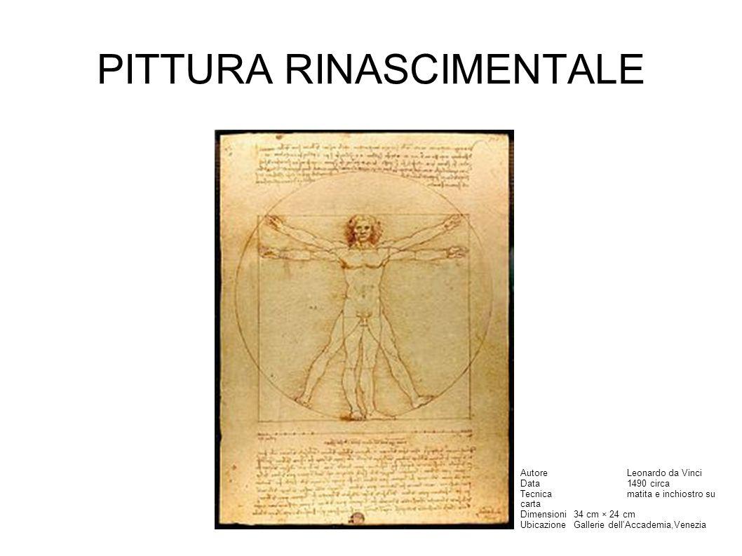 PITTURA RINASCIMENTALE AutoreLeonardo da Vinci Data1490 circa Tecnicamatita e inchiostro su carta Dimensioni34 cm × 24 cm UbicazioneGallerie dell Accademia,Venezia