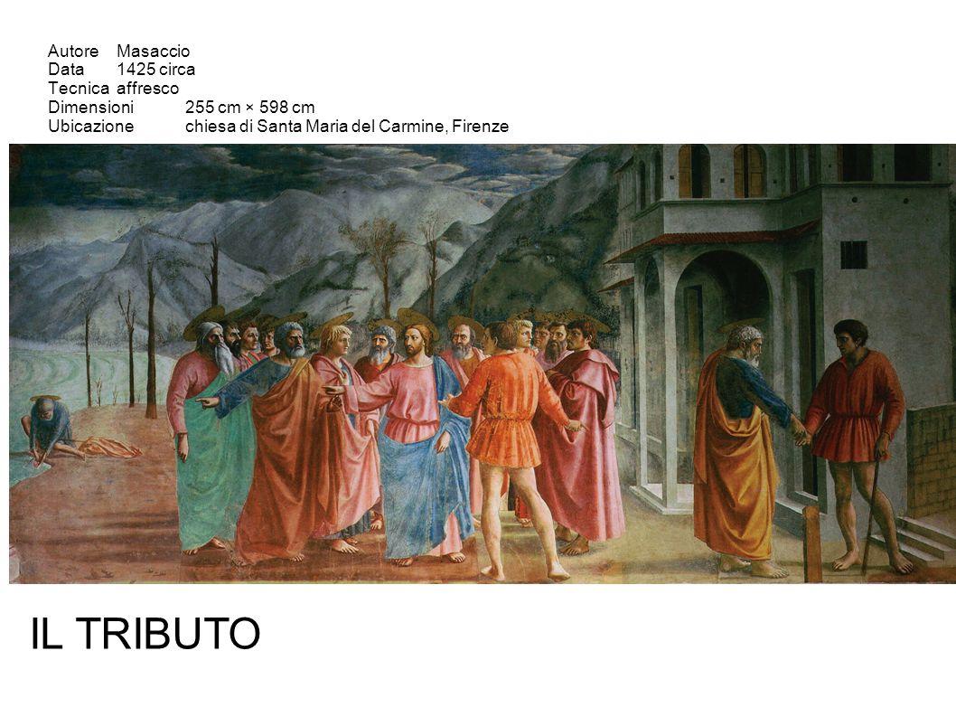 AutoreMasaccio Data1425 circa Tecnicaaffresco Dimensioni255 cm × 598 cm Ubicazionechiesa di Santa Maria del Carmine, Firenze IL TRIBUTO