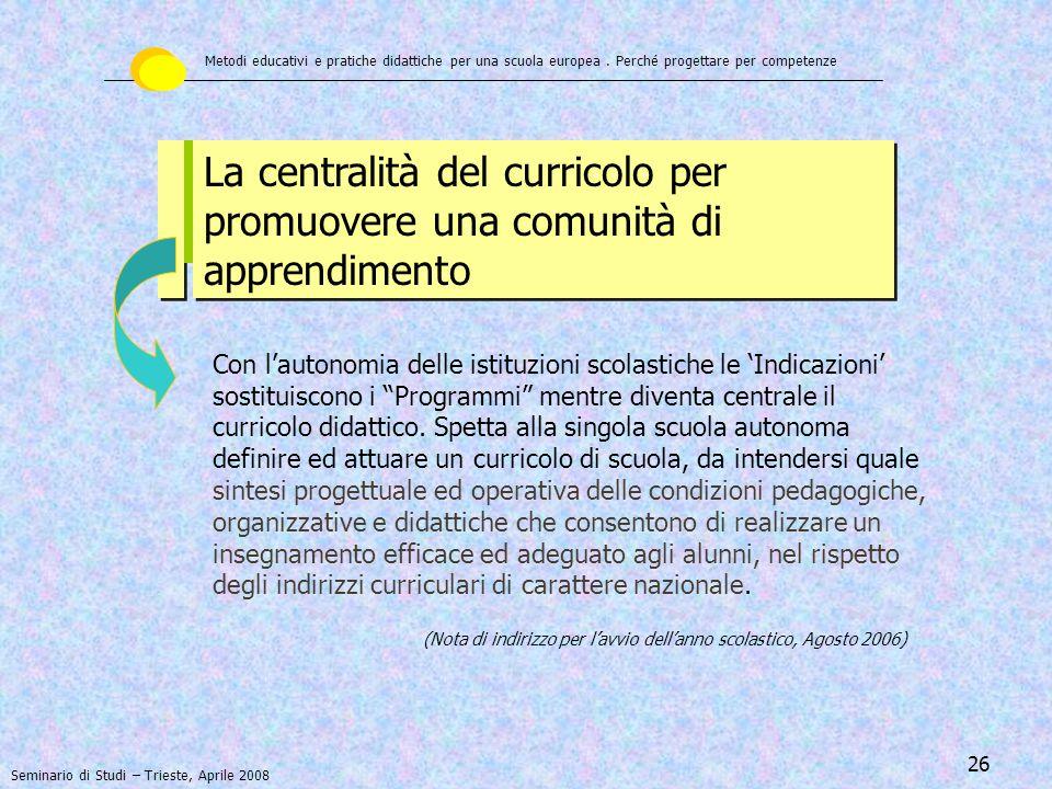 27 MA, UN CURRICOLO DI SCUOLA … COSA E' .