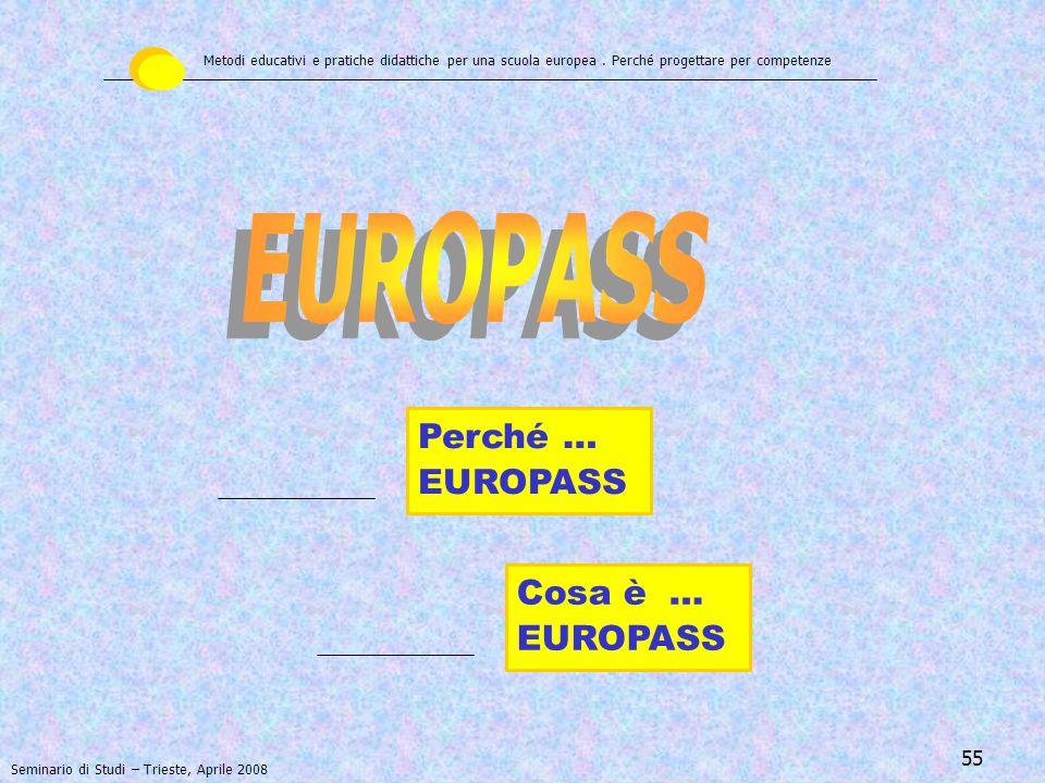 56 Documentare e valutare le proprie esperienze di istruzione, di formazione e di vita Il Portfolio delle competenze individuali Metodi educativi e pratiche didattiche per una scuola europea.