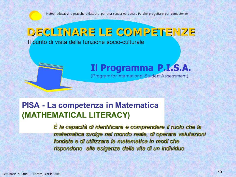 76 DECLINARE LE COMPETENZE Il punto di vista della funzione socio-culturale Metodi educativi e pratiche didattiche per una scuola europea.