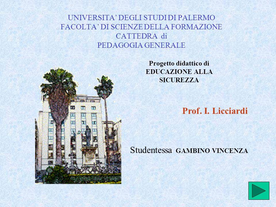 UNIVERSITA' DEGLI STUDI DI PALERMO FACOLTA' DI SCIENZE DELLA FORMAZIONE CATTEDRA di PEDAGOGIA GENERALE Studentessa GAMBINO VINCENZA Prof.