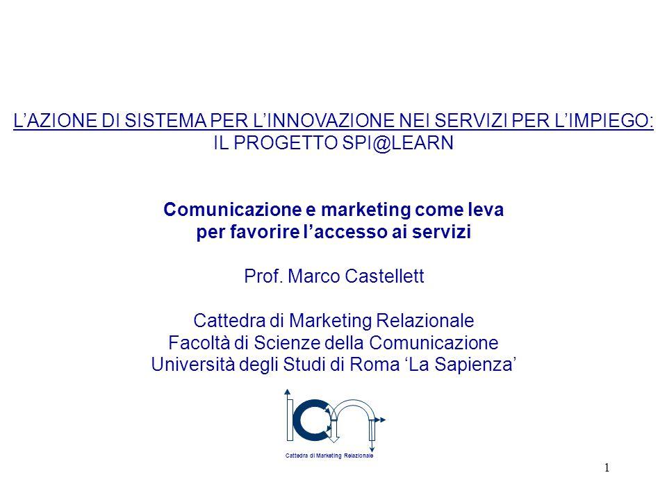 1 L'AZIONE DI SISTEMA PER L'INNOVAZIONE NEI SERVIZI PER L'IMPIEGO: IL PROGETTO SPI@LEARN Comunicazione e marketing come leva per favorire l'accesso ai servizi Prof.