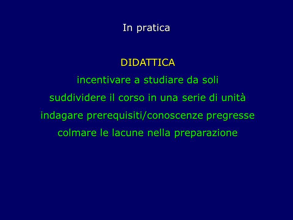 In pratica DIDATTICA incentivare a studiare da soli suddividere il corso in una serie di unità indagare prerequisiti/conoscenze pregresse colmare le lacune nella preparazione