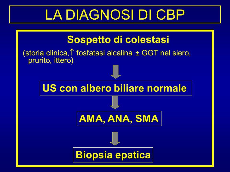 LA DIAGNOSI DI CBP Sospetto di colestasi (storia clinica,  fosfatasi alcalina ± GGT nel siero, prurito, ittero) US con albero biliare normale AMA, AN