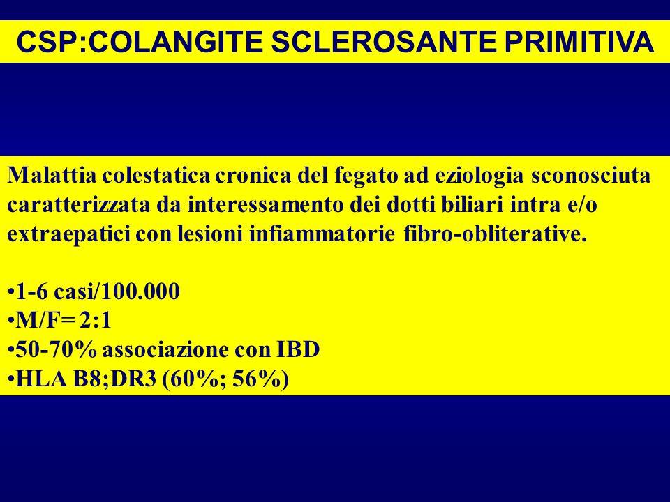 CSP:COLANGITE SCLEROSANTE PRIMITIVA Malattia colestatica cronica del fegato ad eziologia sconosciuta caratterizzata da interessamento dei dotti biliar