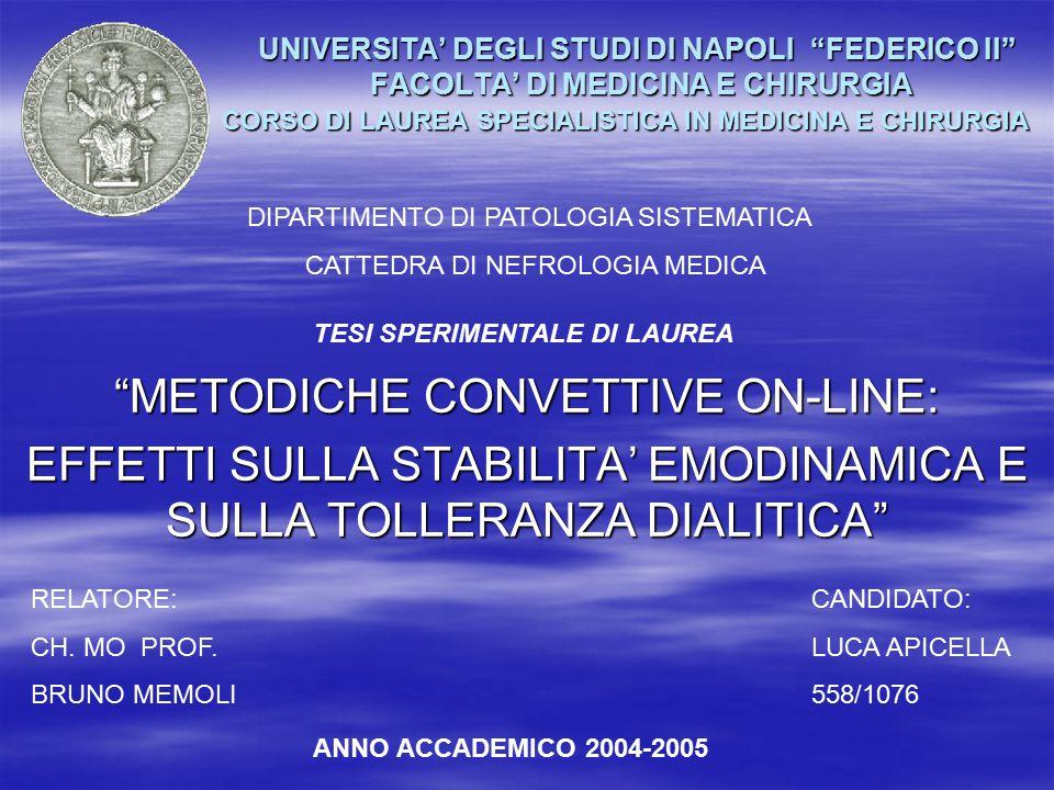 UNIVERSITA' DEGLI STUDI DI NAPOLI FEDERICO II FACOLTA' DI MEDICINA E CHIRURGIA CORSO DI LAUREA SPECIALISTICA IN MEDICINA E CHIRURGIA UNIVERSITA' DEGLI STUDI DI NAPOLI FEDERICO II FACOLTA' DI MEDICINA E CHIRURGIA CORSO DI LAUREA SPECIALISTICA IN MEDICINA E CHIRURGIA METODICHE CONVETTIVE ON-LINE: EFFETTI SULLA STABILITA' EMODINAMICA E SULLA TOLLERANZA DIALITICA DIPARTIMENTO DI PATOLOGIA SISTEMATICA CATTEDRA DI NEFROLOGIA MEDICA TESI SPERIMENTALE DI LAUREA RELATORE: CH.