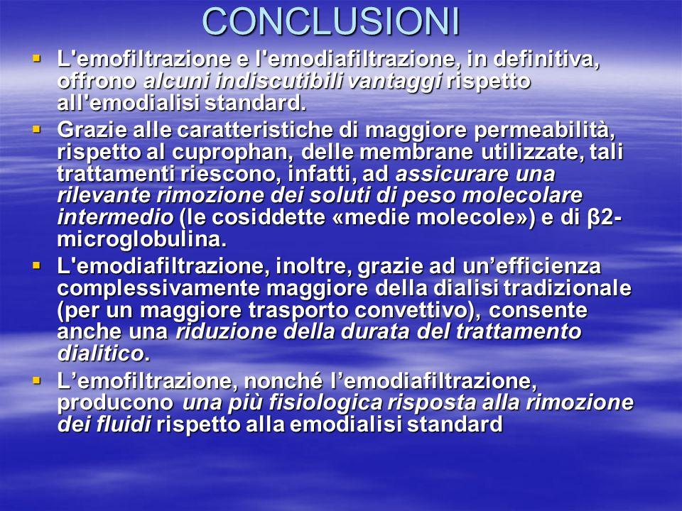 CONCLUSIONI  L'emofiltrazione e l'emodiafiltrazione, in definitiva, offrono alcuni indiscutibili vantaggi rispetto all'emodialisi standard.  Grazie