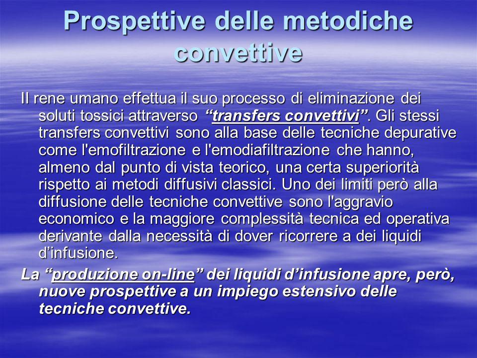 Prospettive delle metodiche convettive II rene umano effettua il suo processo di eliminazione dei soluti tossici attraverso transfers convettivi .