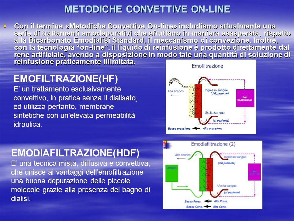 METODICHE CONVETTIVE ON-LINE  Con il termine «Metodiche Convettive On-line» includiamo attualmente una serie di trattamenti emodepurativi che sfruttano in maniera esasperata, rispetto alla Bicarbonato Emodialisi Standard, il meccanismo di convezione.