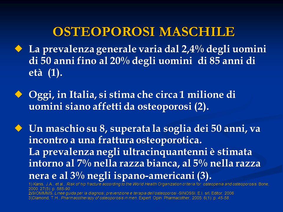 FRATTURA DI FEMORE NELL' OSTEOPOROSI  Tra le fratture osteoporotiche è la più frequente incidendo più delle altre in termini di morbilità, mortalità e costi sociali.