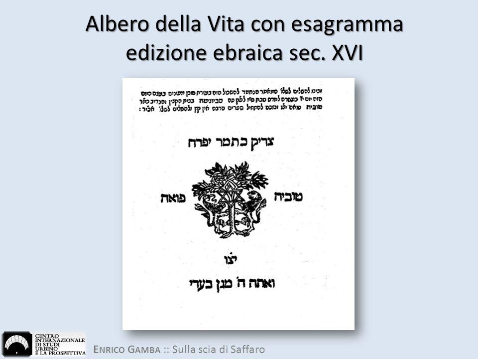E NRICO G AMBA :: Sulla scia di Saffaro Albero della Vita con esagramma edizione ebraica sec. XVI