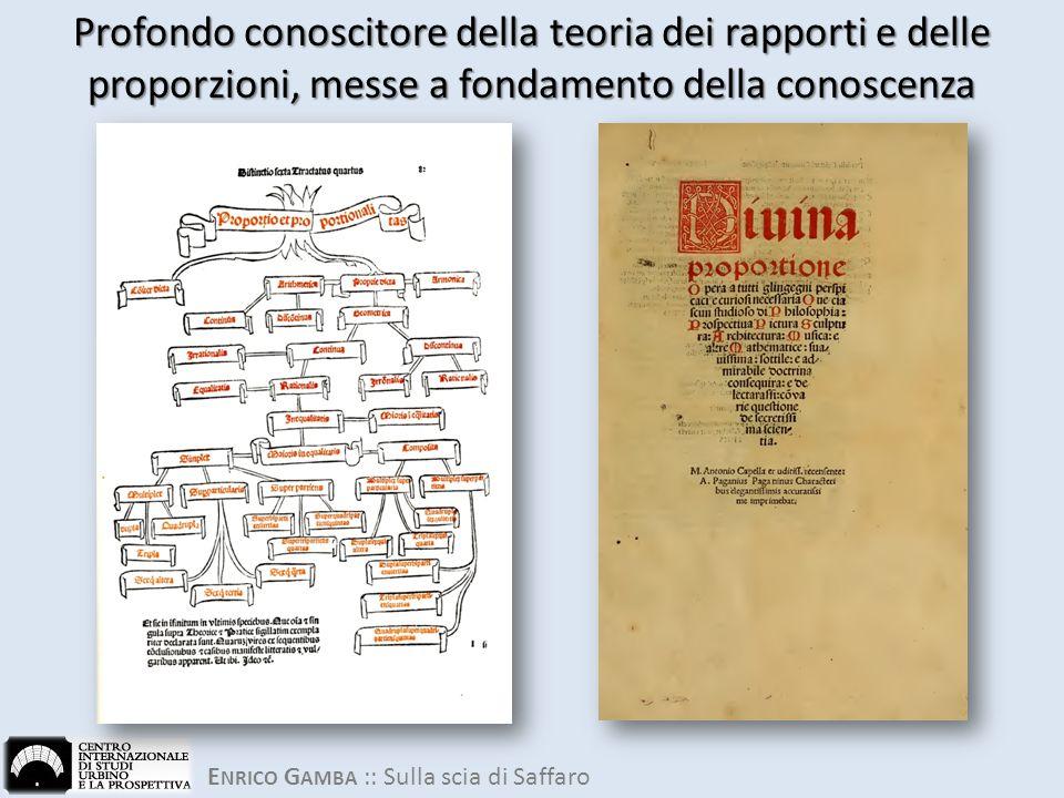 E NRICO G AMBA :: Sulla scia di Saffaro Profondo conoscitore della teoria dei rapporti e delle proporzioni, messe a fondamento della conoscenza