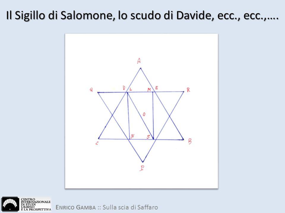 E NRICO G AMBA :: Sulla scia di Saffaro Il Sigillo di Salomone, lo scudo di Davide, ecc., ecc.,….