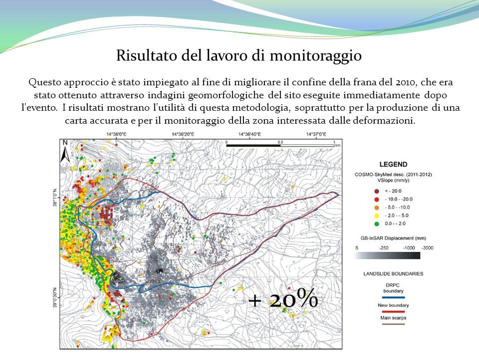 Risultato del lavoro di monitoraggio Questo approccio è stato impiegato al fine di migliorare il confine della frana del 2010, che era stato ottenuto