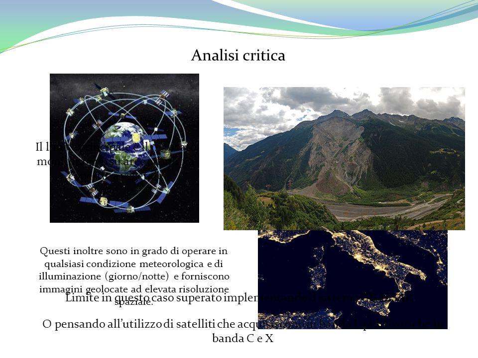Analisi critica L'utilizzo di tecniche di monitoraggio satellitari è in continua crescita Questi inoltre sono in grado di operare in qualsiasi condizi