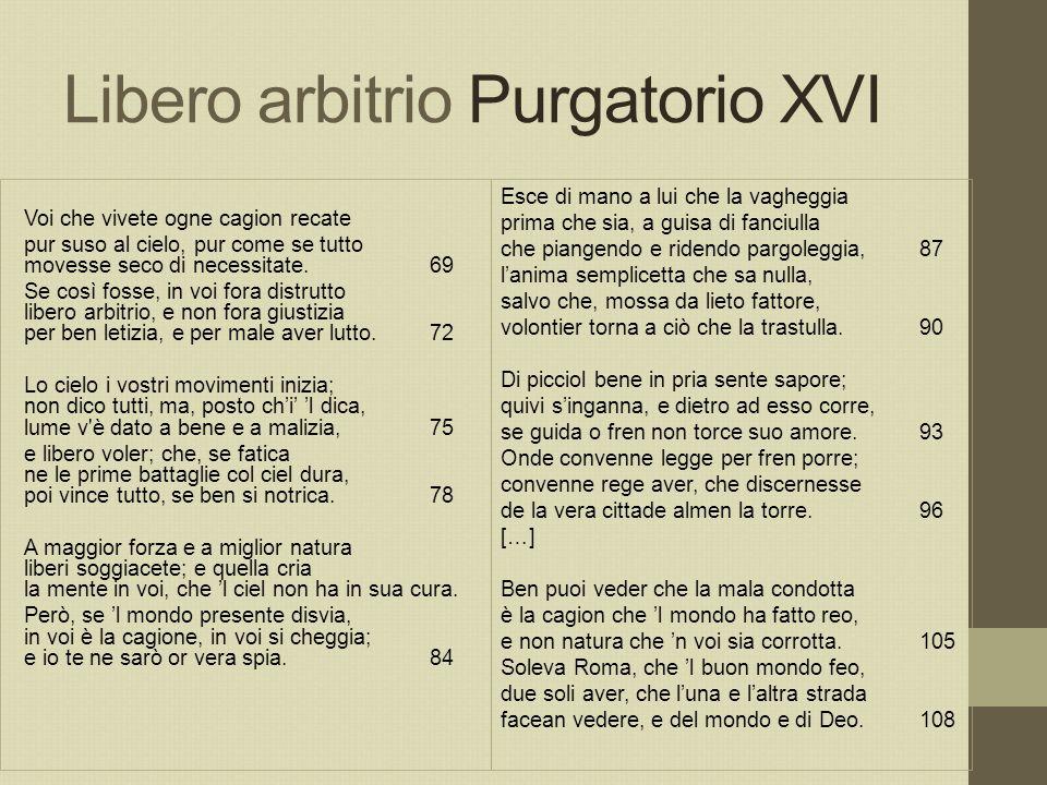 Libero arbitrio Purgatorio XVI Voi che vivete ogne cagion recate pur suso al cielo, pur come se tutto movesse seco di necessitate.