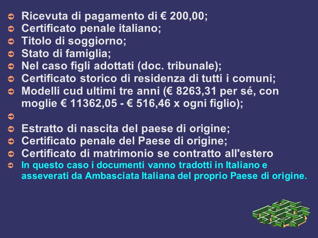➲ Ricevuta di pagamento di € 200,00; ➲ Certificato penale italiano; ➲ Titolo di soggiorno; ➲ Stato di famiglia; ➲ Nel caso figli adottati (doc.