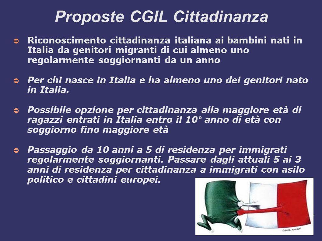 Proposte CGIL Cittadinanza ➲ Riconoscimento cittadinanza italiana ai bambini nati in Italia da genitori migranti di cui almeno uno regolarmente soggiornanti da un anno ➲ Per chi nasce in Italia e ha almeno uno dei genitori nato in Italia.
