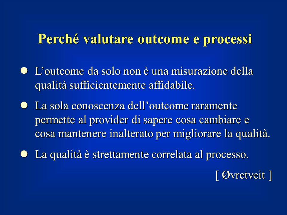 Perché valutare outcome e processi L'outcome da solo non è una misurazione della qualità sufficientemente affidabile. L'outcome da solo non è una misu