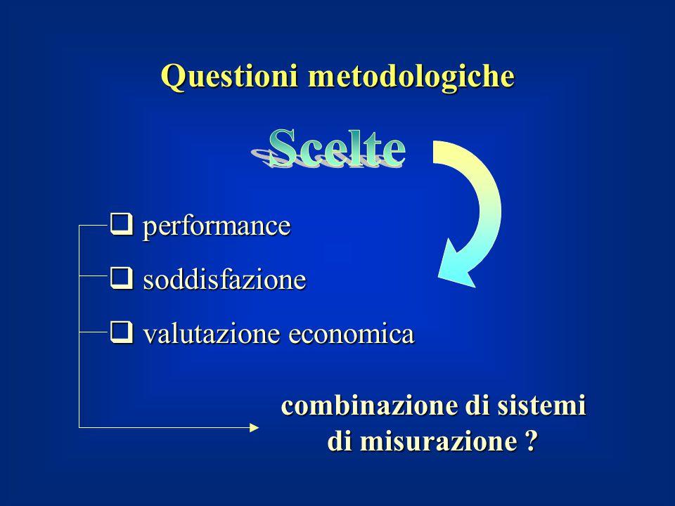 Questioni metodologiche  performance  soddisfazione  valutazione economica combinazione di sistemi di misurazione ?