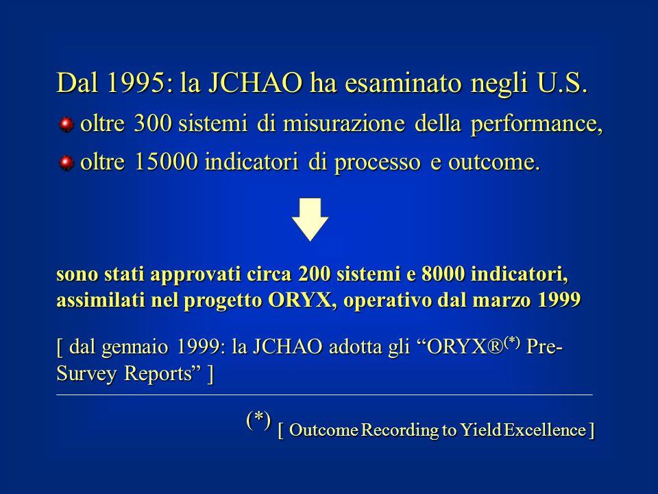 Dal 1995: la JCHAO ha esaminato negli U.S. oltre 300 sistemi di misurazione della performance, oltre 300 sistemi di misurazione della performance, olt