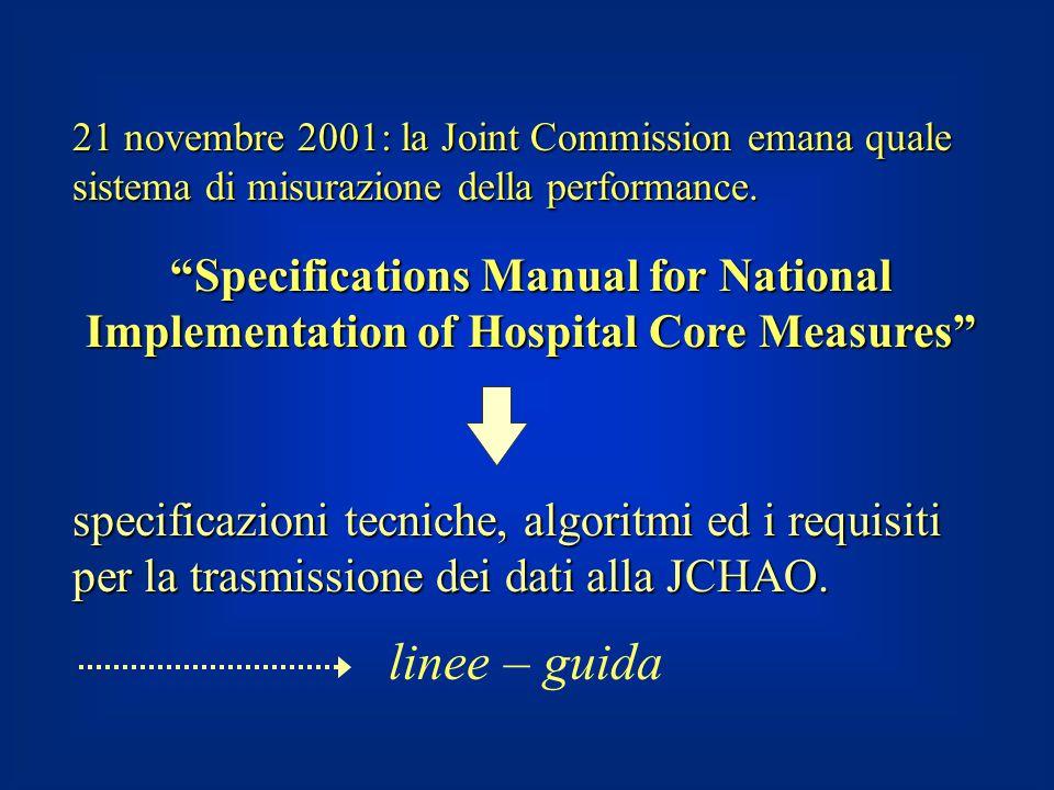 """21 novembre 2001: la Joint Commission emana quale sistema di misurazione della performance. """"Specifications Manual for National Implementation of Hosp"""
