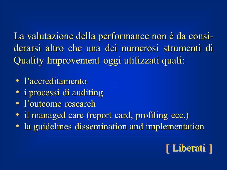 l'accreditamento l'accreditamento i processi di auditing i processi di auditing l'outcome research l'outcome research il managed care (report card, pr