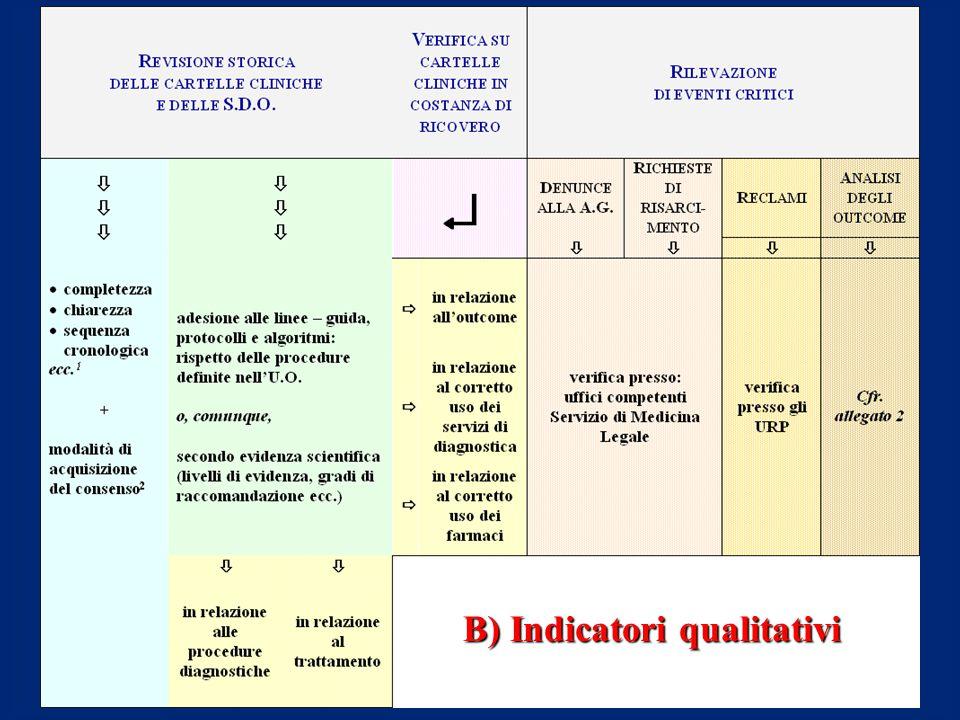 B) Indicatori qualitativi