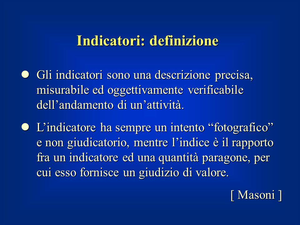 Indicatori: definizione Gli indicatori sono una descrizione precisa, misurabile ed oggettivamente verificabile dell'andamento di un'attività. Gli indi