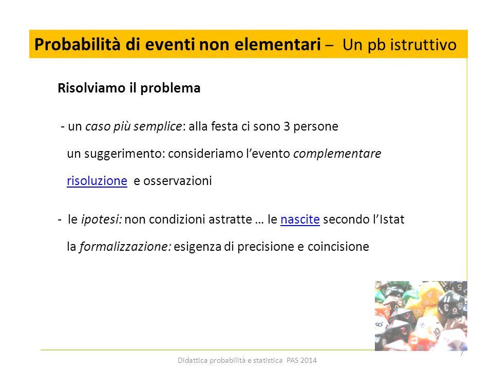 Probabilità di eventi non elementari – Un pb istruttivo Risolviamo il problema - un caso più semplice: alla festa ci sono 3 persone un suggerimento: c