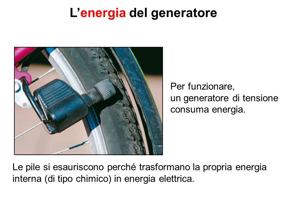 L'energia del generatore Per funzionare, un generatore di tensione consuma energia. Le pile si esauriscono perché trasformano la propria energia inter