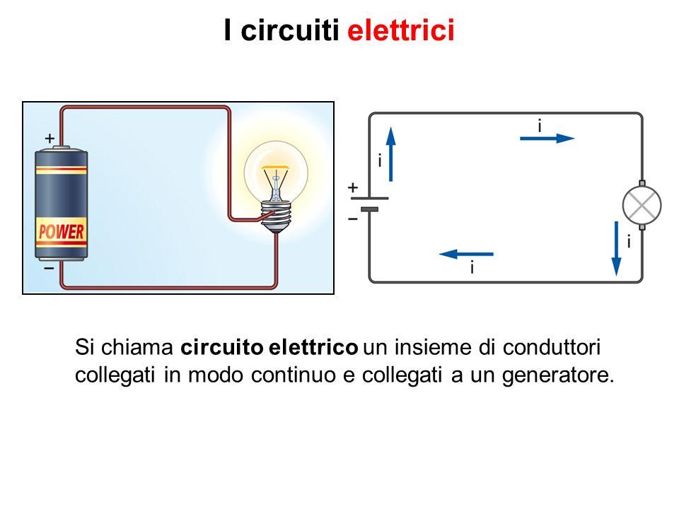 I circuiti elettrici Si chiama circuito elettrico un insieme di conduttori collegati in modo continuo e collegati a un generatore.