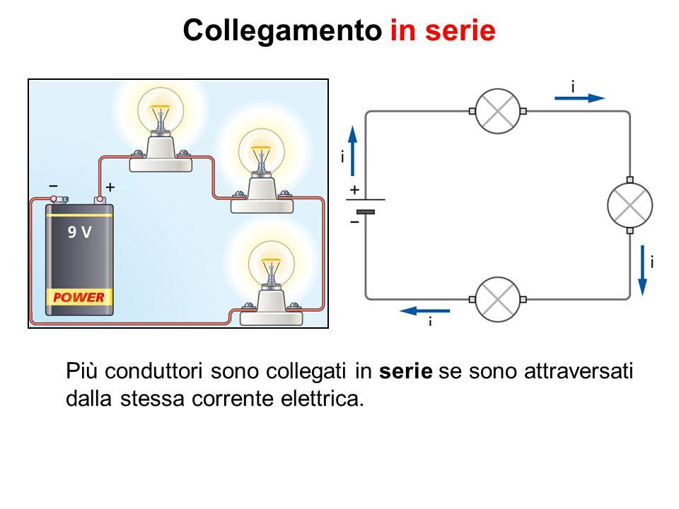 Collegamento in serie Più conduttori sono collegati in serie se sono attraversati dalla stessa corrente elettrica.