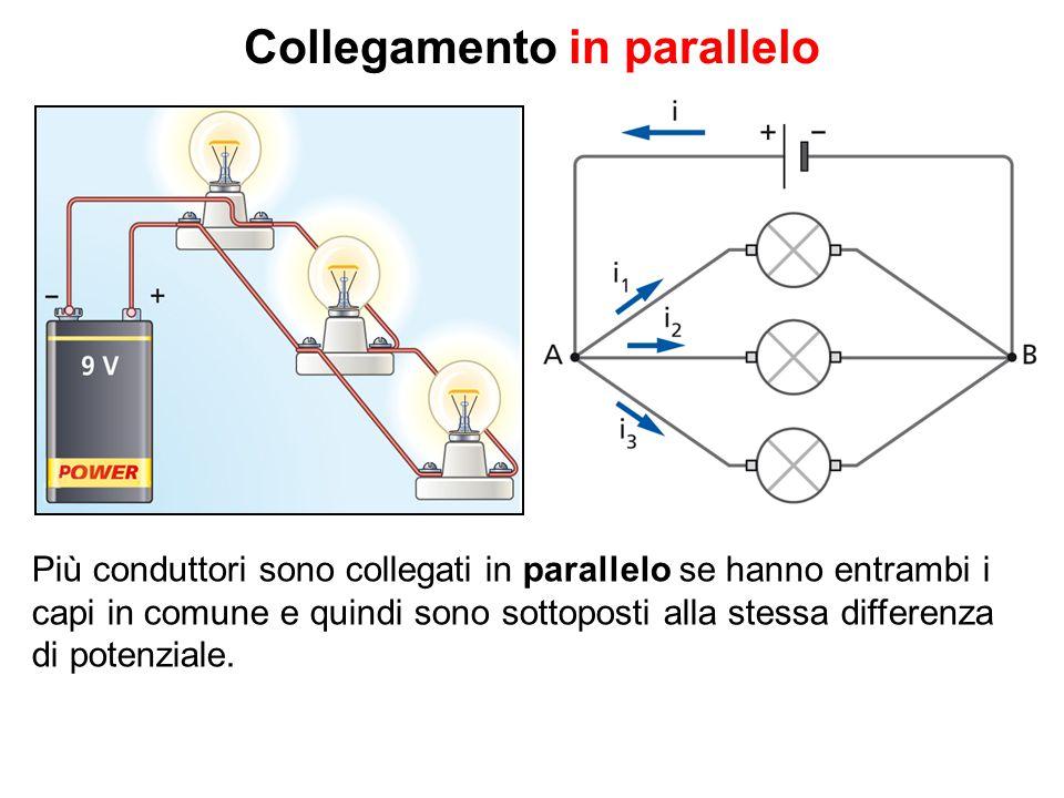 Collegamento in parallelo Più conduttori sono collegati in parallelo se hanno entrambi i capi in comune e quindi sono sottoposti alla stessa differenza di potenziale.