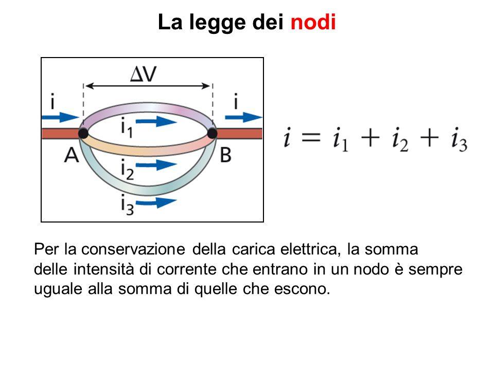 La legge dei nodi Per la conservazione della carica elettrica, la somma delle intensità di corrente che entrano in un nodo è sempre uguale alla somma di quelle che escono.