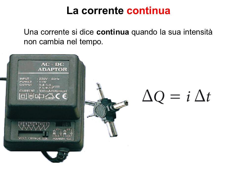 La corrente continua Una corrente si dice continua quando la sua intensità non cambia nel tempo.