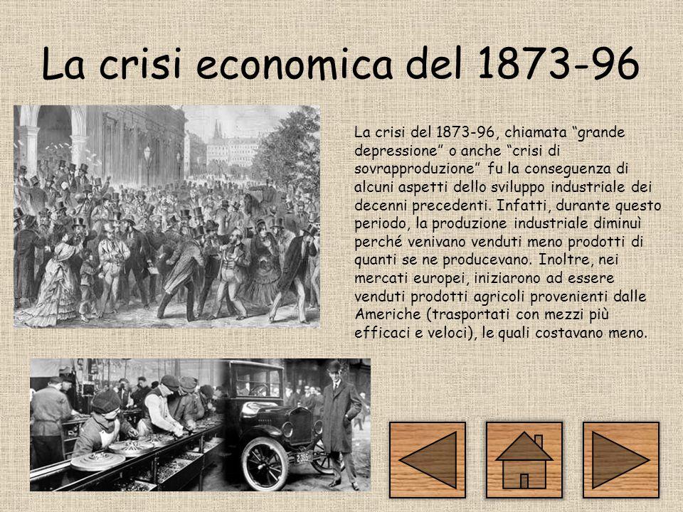 La crisi economica del 1873-96 La crisi del 1873-96, chiamata grande depressione o anche crisi di sovrapproduzione fu la conseguenza di alcuni aspetti dello sviluppo industriale dei decenni precedenti.