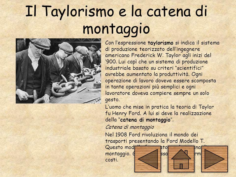 Il Taylorismo e la catena di montaggio Con l'espressione taylorismo si indica il sistema di produzione teorizzato dell'ingegnere americano Frederick W.