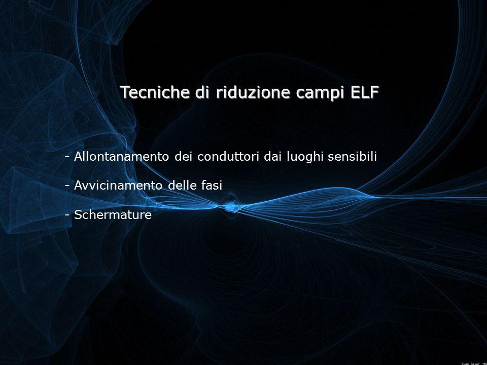 - Allontanamento dei conduttori dai luoghi sensibili - Avvicinamento delle fasi - Schermature Tecniche di riduzione campi ELF