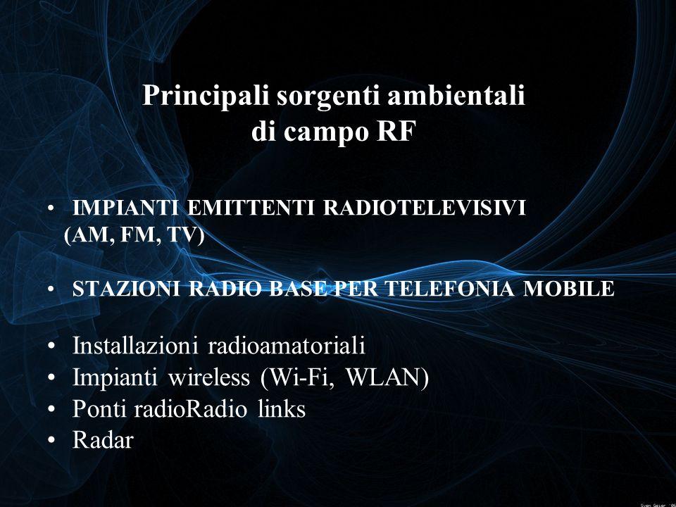 IMPIANTI EMITTENTI RADIOTELEVISIVI (AM, FM, TV) STAZIONI RADIO BASE PER TELEFONIA MOBILE Installazioni radioamatoriali Impianti wireless (Wi-Fi, WLAN)
