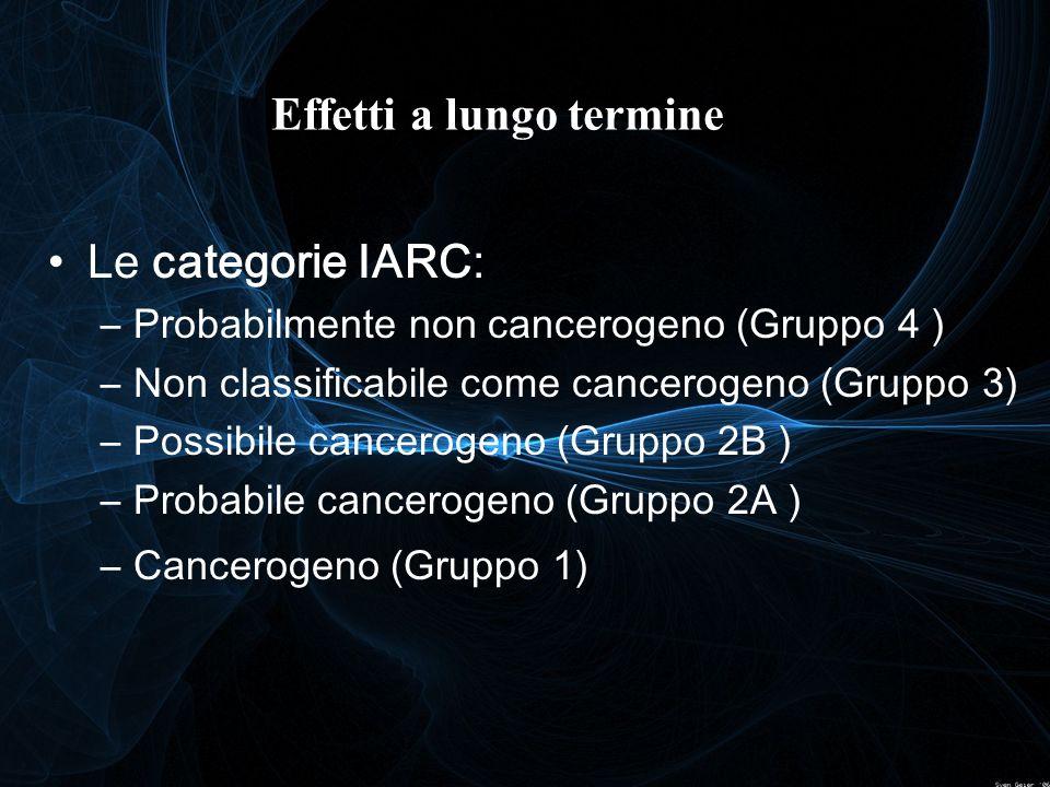 Le categorie IARC: –Probabilmente non cancerogeno (Gruppo 4 ) –Non classificabile come cancerogeno (Gruppo 3) –Possibile cancerogeno (Gruppo 2B ) –Pro