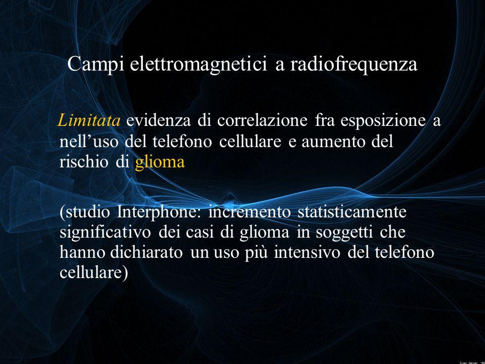 Limitata evidenza di correlazione fra esposizione a nell'uso del telefono cellulare e aumento del rischio di glioma (studio Interphone: incremento sta