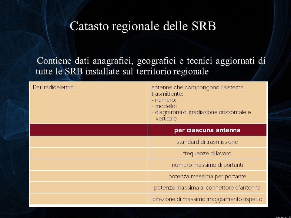 Catasto regionale delle SRB Contiene dati anagrafici, geografici e tecnici aggiornati di tutte le SRB installate sul territorio regionale