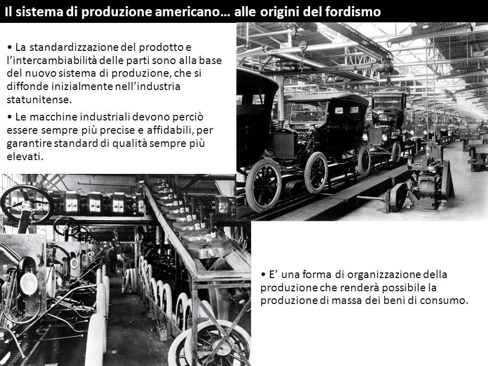 Il sistema di produzione americano… alle origini del fordismo La standardizzazione del prodotto e l'intercambiabilità delle parti sono alla base del n
