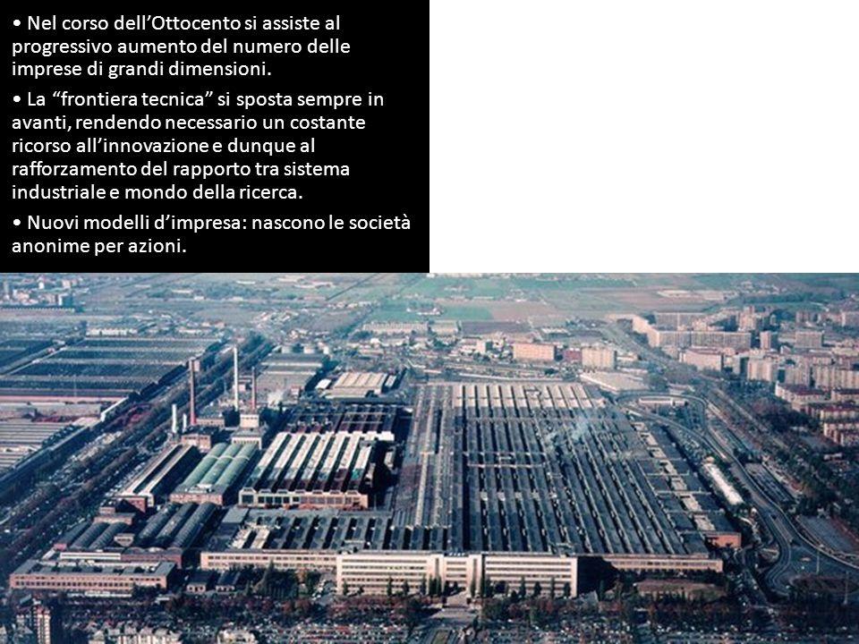 """Nel corso dell'Ottocento si assiste al progressivo aumento del numero delle imprese di grandi dimensioni. La """"frontiera tecnica"""" si sposta sempre in a"""