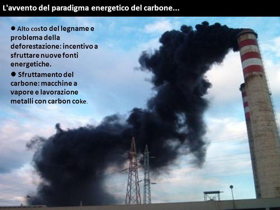 L'avvento del paradigma energetico del carbone... Alto cos to del legname e problema della deforestazione: incentivo a sfruttare nuove fonti energetic