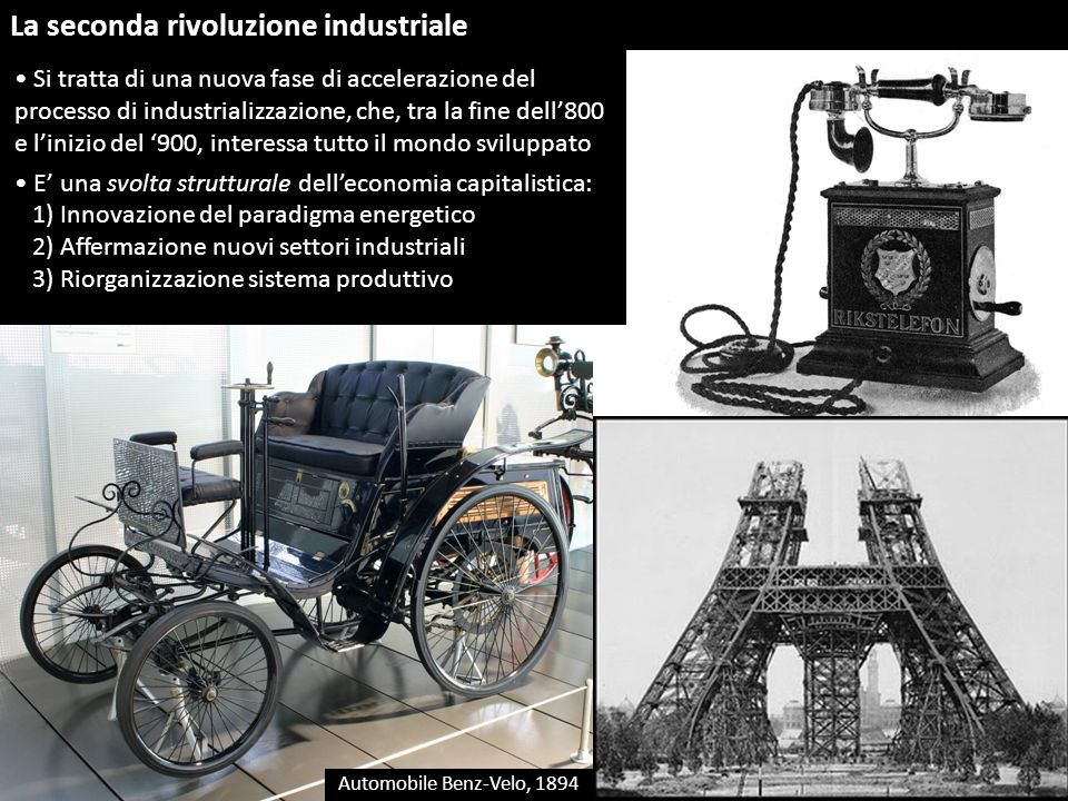 La seconda rivoluzione industriale Si tratta di una nuova fase di accelerazione del processo di industrializzazione, che, tra la fine dell'800 e l'ini
