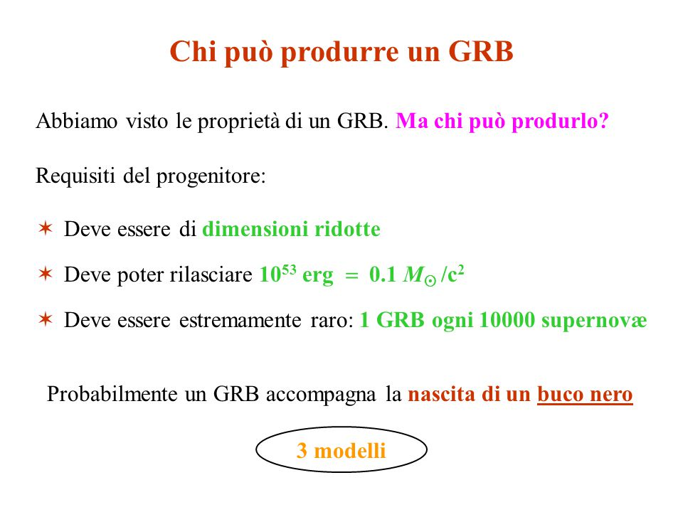Chi può produrre un GRB Abbiamo visto le proprietà di un GRB. Ma chi può produrlo? Requisiti del progenitore:  Deve essere di dimensioni ridotte  De