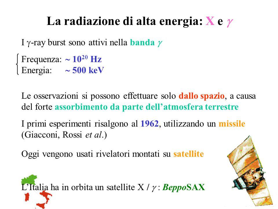 La radiazione di alta energia: X e  I  -ray burst sono attivi nella banda  Frequenza:  10 20 Hz Energia:  500 keV Le osservazioni si possono effe